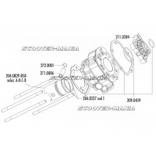 cylinder head combustion chamber Polini aluminum racing 80cc 50mm Piaggio / Derbi engine D50B0