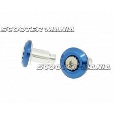 handlebar / bar end weights anti-vibration Mini CNC - milled blue
