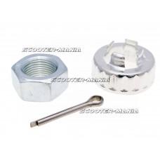 output shaft wheel nut set w/ crown nut, split pin for Piaggio, Vespa