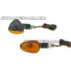 indicator light set M10 thread carbon look Doozy orange, short version