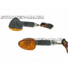 indicator light set M10 thread carbon look Doozy orange, long version