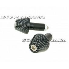 handlebar vibration dampers / bar ends short 13.5mm - carbon look
