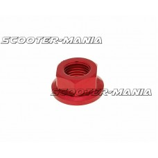 front wheel lock / axle nut aluminum red anodized M14x1,5