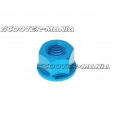 front wheel lock / axle nut aluminum blue anodized M12x1.75