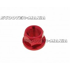 front wheel lock / axle nut aluminum red anodized M12x1.75