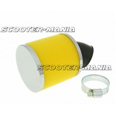 air filter Big Foam 28-35mm bent carb connection (adapter) yellow